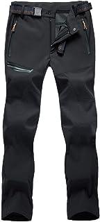 BIYLACLESEN Men's Outdoor Hiking Pants Multi Pockets Waterproof Lightweight Camping Climbing Mountain Pants with Belt