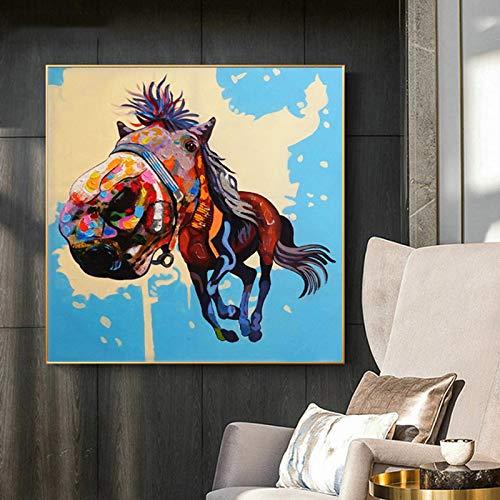 hetingyue Kunst fliegen Cartoon Pferd Poster drucken Kunst Wand Wohnzimmer Moderne Wohnkultur rahmenlose Malerei 60X60CM