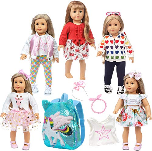 K.T.Fancy 5 Sets 18 Inch Doll Clothes and Unicorn Backpacks for Kids Casual Wear Oufits for American 18 Inch Girl Doll Clothes and Accessories