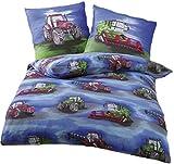 Unbekannt Biber Bettwäsche für Jungen und Mädchen Kinderbettwäsche mit verschiedenen Motiven in 135 x 200 cm (Traktor)
