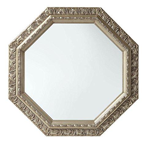 ぼん家具 八角形 鏡 壁掛け ミラー アンティーク調 51.5×51.5cm シャンパンゴールド