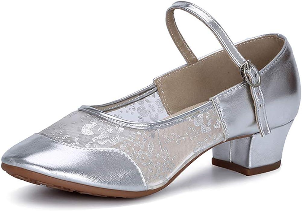 DKZSYIM Women's Low Heel Comfortable Teacher Practice Dance Shoes,Model YMJ315+215