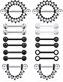 Prjndjw Black, 14G, 9/16in(14mm) L, 8 Pairs 5mm Ball Surgical Steel Nipplerings Nipple Tongue Rings CZ Acrylic Barbell Body Piercing Jewelry