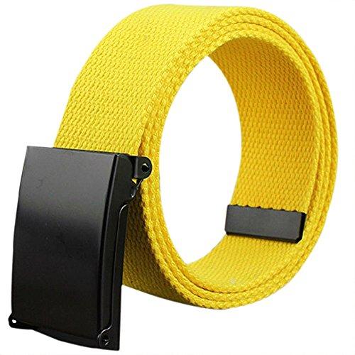 Cinturón amarillo básico de lona con hebilla metálica automática