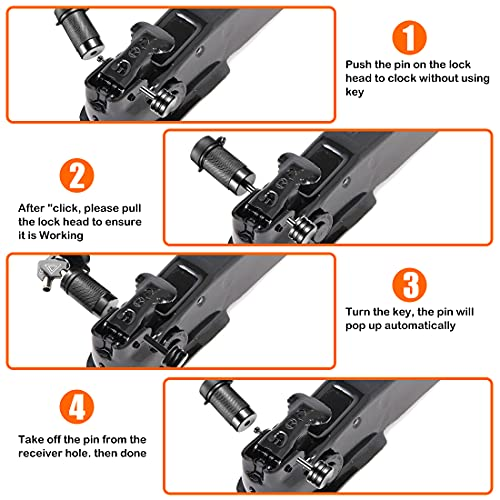CZC AUTO Trailer Tongue Coupler Lock, Dia 1/4 Inch, 2-1/2 Inch Span Fits Latch-Type Coupler for Towing Boat Truck RV Car Trailer