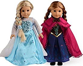 sweet dolly Elsa and Anna Princess Costumes For 18 Inch American Girl Doll Clothes