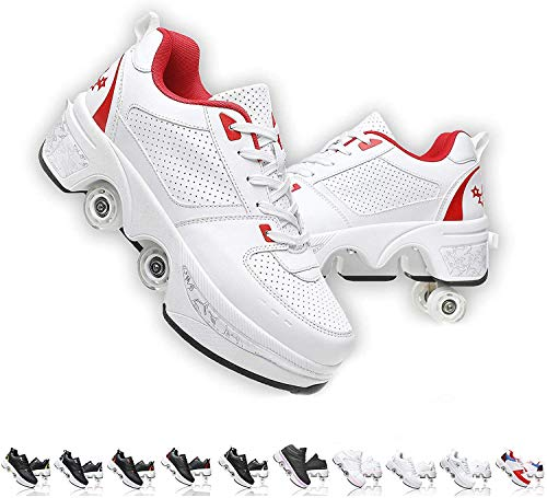 SHHAN Unisexo Patines Doble Fila Zapatos De Deformación Ajustable Patio Multiusos 2 En 1 Patín En Línea Botas,White Red,36
