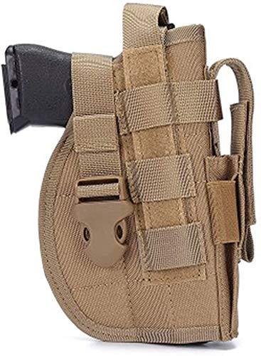 Gexgune Funda de Pistola táctica Universal Mano Derecha Molle Pistola de Pistola Combate Airsoft Cinturón de Cintura Funda Negro Tan Verde Multicam para Mano Derecha (Bronceado)