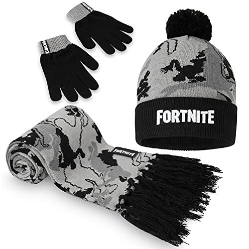Fortnite Mütze Jungen Schal Handschuhe Set, Kinder Mütze Winter Set, Gaming Merchandise