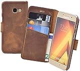 Suncase Book-Style (Slim-Fit) kompatibel Samsung Galaxy A3 (2017) Ledertasche Leder Tasche Handytasche Schutzhülle Hülle Hülle (mit Standfunktion & Kartenfach) antik Coffee