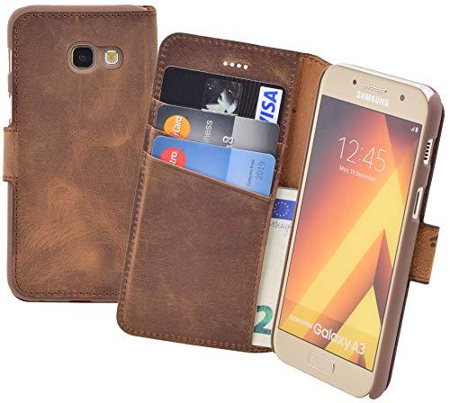 Suncase Book-Style (Slim-Fit) kompatibel Samsung Galaxy A3 (2017) Ledertasche Leder Tasche Handytasche Schutzhülle Case Hülle (mit Standfunktion und Kartenfach) antik Coffee