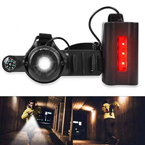 ICOCOPRO Lauflicht LED Brustlicht, 90 ° Verstellbarer Strahl, USB Wiederaufladbares, 500 Lumen Nachtlicht mit Rückwarnleuchte, wasserdicht zum Laufen, Joggen, Wandern, Camping, Outdoor-Abenteuer