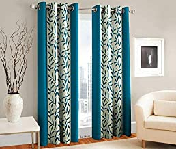 Panipat Textile Curtain Fancy Floral Eyelet Single 1 Piece Blue Polyester Curtain,Window 5 Feet