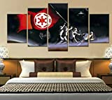 Yftnipl Cuadro En Lienzo,5 Piezas Star Space Wars Darth Stormtrooper Jedi Dibujos Hd Poster Pictures Paintings Home Decor Impresión Artística Fotográfico