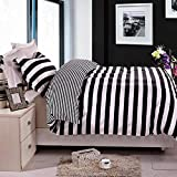 NTBAY 2 Pieces Twin Duvet Cover Set, Black and White Stripe Printed...