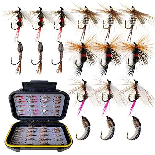 Fly Fishing Flies Kit, 50/114Pcs Handmade Fly Fishing Gear with...
