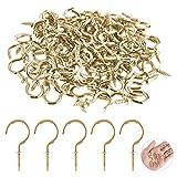 ASTARON 1/2 Inch 200 PCS Metal Ceiling Hooks Brass Plated Hook Holder(Gold)