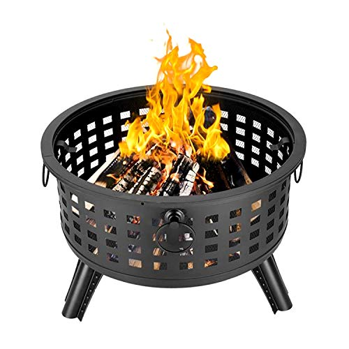 COFFEE CAT Firepit Outdoor Fireplace, Bowl for Camping, Backyard, Tailgating, and Patio Mobile Steel Fire Pit Outdoor Firebowl, 26inch, Black