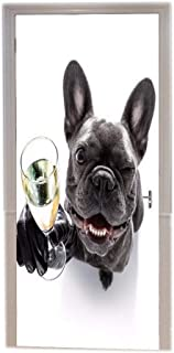 A.Monamour Funny French Bulldog Dog Celebrating Festival with Champagne Glass White Background Print Vinyl Room Door Decals Wallpaper Wall Murals Removable Door Stickers Posters Art Decors