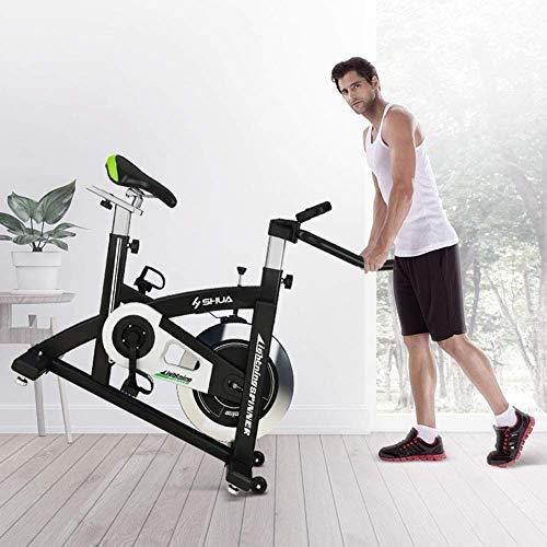 Zhihao Indoor Heimtrainer Fahrrad Spin Bike Cardio Workout W/Riemenantrieb Schwungrad Radfahren Einstellbarer Lenker Sitz Widerstand des Digital-Monitor Herzfrequenz-Sensoren