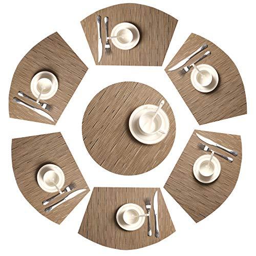 SHACOS Lot de 7 Set de Table en Forme de Coin 1 Rond Central en Vinyle Lavable résistant à la Chaleur Tapis de Table(Tan Bambou,7)