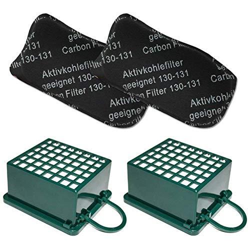 Kuinayouyi Juego de Filtro 2(Filtro de Olores/Filtro de Carbón Activado/Filtro Agf) + 2 (Hepa() Filtro/Microfiltro/Filtro Hepa) Adecuado para Vorwerk Kobold Vk 130 131 SC, Vk130, Vk131
