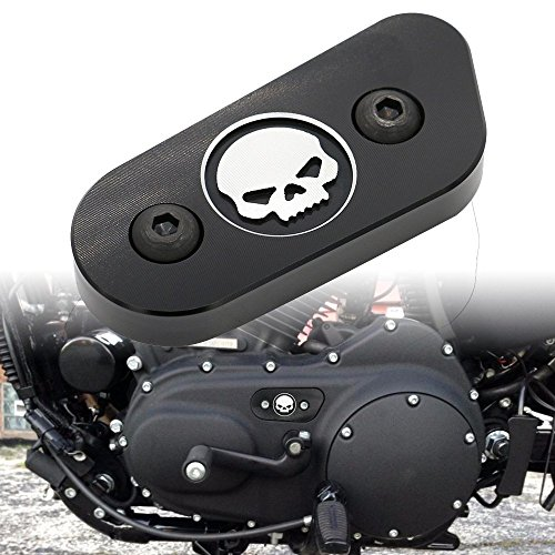 Frenshion Kompatibel für Motorrad CNC Kette Inspektion Abdeckung Guard Chrome Skull Schutz für Harley Davidson Sportster XL 883 1200 2014 2015 2016 Schwarz