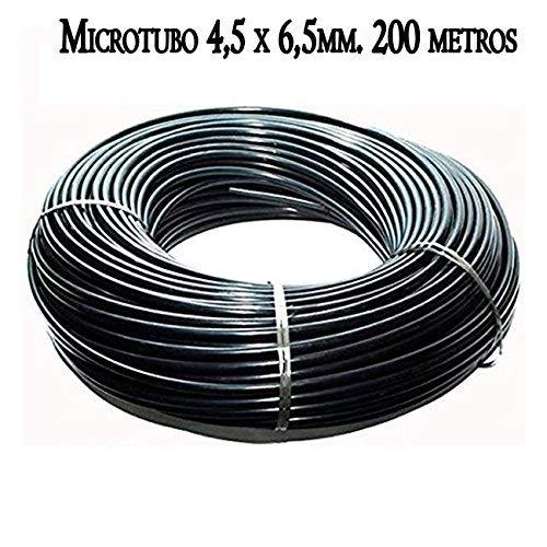 Suinga. MICROTUBO Flexible 4,5 x 6,5 mm. Bobina 200 METROS. Tubo de color NEGRO. Tubería utilizada para riego por goteo. Tuberia de alta calidad fabricada en España