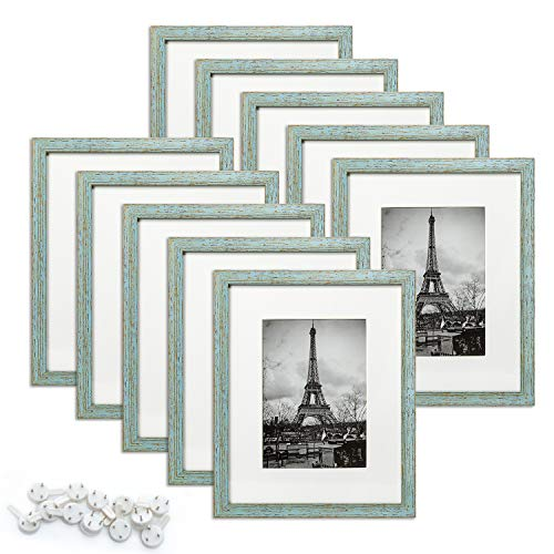 upsimples 8x10 Picture Frame Set of 10,Display Pictures 5x7 with Mat or 8x10 Without Mat,Multi Photo Frames Collage for Wall or Tabletop Display,Rustic Blue