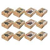Uniqal 12 cajas de galletas de Navidad con ventana, cajas de regalo para repostería, dulces, regalos de fiesta