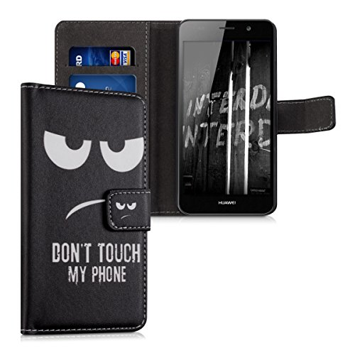 kwmobile Wallet Hülle kompatibel mit Huawei Y6 (2015) - Hülle mit Ständer Kartenfächer Don't Touch My Phone Weiß Schwarz