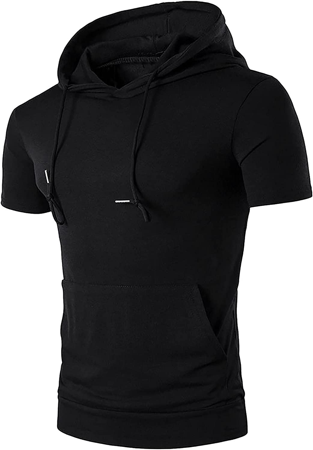 FUNEY Mens Fashion Athletic Hoodies Sport Sweatshirt Short Sleeve Drawsting Shirts Hipster Hip Hop Pullover with Pockets