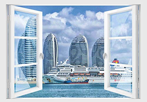 Skins4u Fenster 3D Optik Wandtattoo Wandbild Aufkleber 80x55cm Dekoration Bild Foto Tapete 80x55cm Motiv Kreuzfahrt Schiff