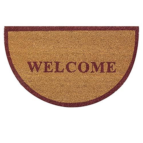 OLIVO.shop   WISH WELCOME - Zerbino per ingresso in cocco naturale e gomma antiscivolo, a mezzaluna con stampa in acrilico - 45x75 cm (Rosso Scuro)