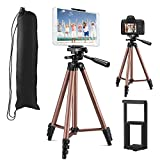 MOREVON Tripod for ipad, [Latest Upgrade] 53' Tripod for iPhone Camera Tablet, Lightweight Aluminum Tripod Stand with Remote, Universal 2 in 1 Phone/Tablet Holder, for Smartphone, Tablet, Camera