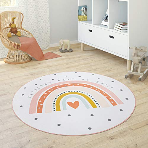 Paco Home Kinderteppich Teppich Rund Kinderzimmer Spielmatte Babymatte Stern Mond Elefant Regenbogen, Grösse:Ø 150 cm Rund, Farbe:Creme