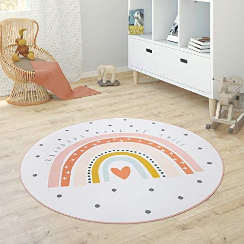 Paco Home Kinderteppich Teppich Rund Kinderzimmer Spielmatte Babymatte Stern Mond Elefant Regenbogen, Grösse:Ø 120 cm Rund, Farbe:Creme
