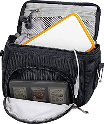 Orzly Travel Bag for Nintendo DS Consoles (New 2DS XL / 3DS / 3DS XL/New 3DS / New 3DS XL/Original DS/DS Lite/DSi/etc.) - Includes Belt Loop, Carry Handle, Shoulder Strap - BLACK