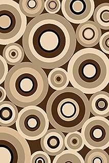 Chocolate 8X11 Carved Circles Crop Geometric Area Rug