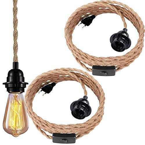 Pendelleuchte Kit mit Schalter, 2x E27 Lampenfassung mit 4.5m Lampenkabel Für DIY Haus Schlafzimmer Restaurant Cafe Bar Landhausstil Dekoration - Ohne Glühbirne