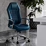 Modern Ergonomic Sterling Genuine Leather Executive Chair with Aluminum Base - Dark Teal Blue
