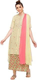 Haute Curry by Shoppers Stop Womens Banded Collar Printed Churidar Suit_Green