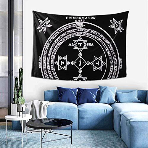 Tapiz de pared con diseño de círculo mágico de rey Salomón invertido, decoración estética del hogar, 152,4 x 101,6 cm