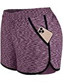 Blevonh Athletic Shorts for Women 5 Inch,Ladies Elastic Waist Band Light Running Yoga Shorts with...