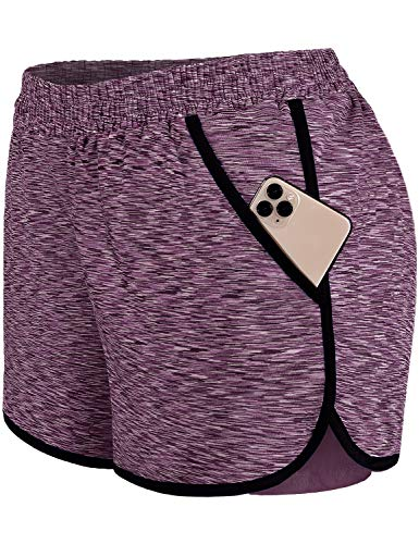 Blevonh 3X Shorts for Women Plus Size,Lady Waist Bands Solid Color Cute Short Pants with Compression Leggings Underneath Womens Versatile Classy Outdoor Boardshorts Purple