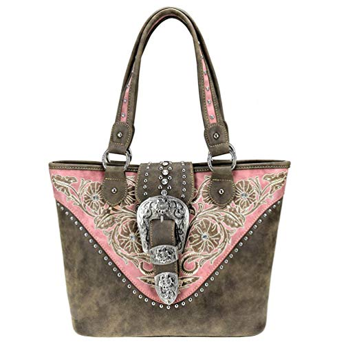 Montana West Handbags Western Buckle Cowgirl Concealed Carry Bling Tote Shoulder Purses (Coffee)