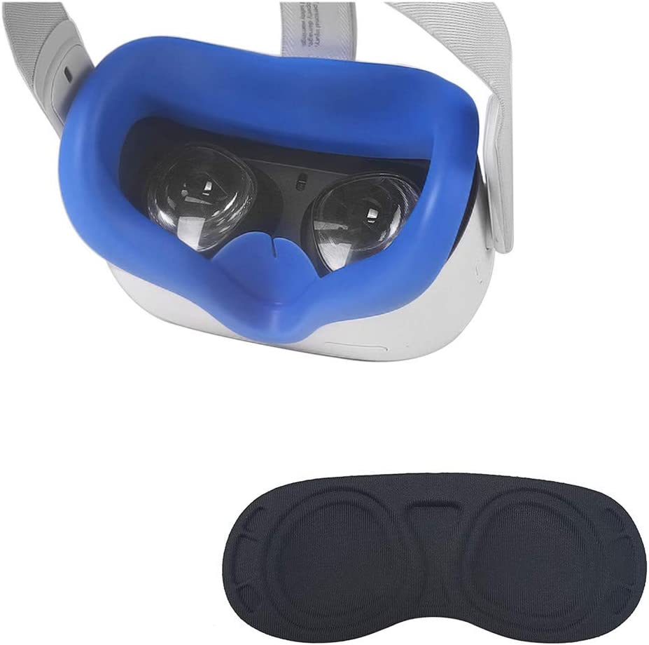 HIQUE Silicone Face Cover Skin Compatible for Oculus Quest 2 with Standard Eye Pad | Accessories Include Silicone Face Mask, Lens Dust Protector for Quest 2 Virtual Reality Headset - Blue