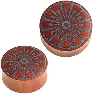 Chic-Net®, dilatatore per lobo in legno di savo, unisex, con fiore di leone, colore turchese, con intarsio blu