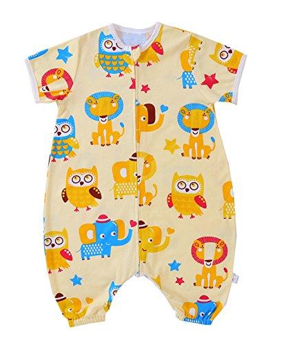 Chilsuessy Baby Sommer Schlafsack 0.5 Tog Kurzarm mit Beinen Unwattiert Schlafstrampler Kinder Schlafsaecke Cartoon Tiere, Gelb Tierpark, XL/Koerpergroesse 95-115cm