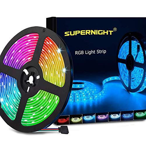 SUPERNIGHT LED Strip Lights, 16.4FT 5M SMD 5050 Waterproof 300LEDs RGB Color Changing Flexible LED Light Strip